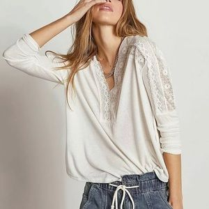 NWT Free People Lola Lace Trim Top